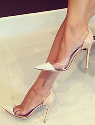 Women's Heels Spring Fall Club Shoes PVC Patent Leather Office & Career Party & Evening Dress Stiletto Heel Nude Blue