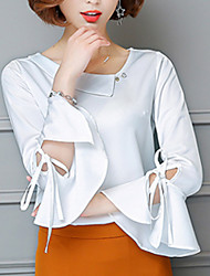 Women's Going out Casual/Daily Simple Boho Summer Fall Blouse,Solid V Neck Long Sleeve Silk Cotton Opaque