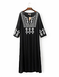 Women's Boho Going out Casual/Daily Simple Street chic Sheath Dress,Solid Round Neck Above Knee Long Sleeve Black Rayon Polyester Fall Winter