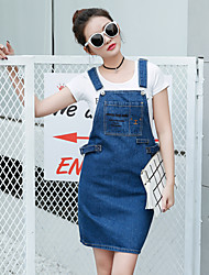 Sign spring and summer 2017 new women's college wind sweet embroidered denim dress strap dress was thin A word skirt
