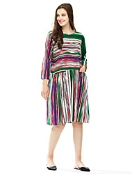 Women's Sports Work Cute Chinoiserie A Line Dress,Print Round Neck Midi Long Sleeve Cotton All Seasons Mid Rise Micro-elastic Medium