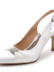 Women's Heels Summer Fall Slingback Club Shoes Silk Wedding Office & Career Party & Evening Dress Casual Stiletto HeelRhinestone Satin