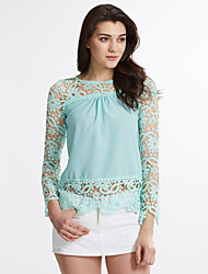 Women's Lace Casual Plus Size Solid Elegant Lace Blouse,Top Quality Round Neck Long Sleeve T Shirt