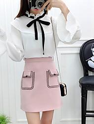 Feminino Japonesa/Curta Vestidos Conjuntos Casual SimplesCor Única Decote V