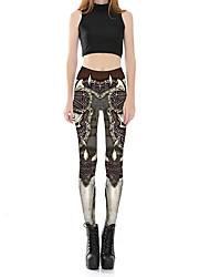 Feminino Fofo Sensual Cintura Média Micro-Elástica Chinos Calças,Skinny Estampado,Floral