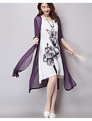 Women's Casual/Daily Simple Loose Swing Dress,Solid Floral Round Neck Maxi Others Summer Mid Rise Inelastic Thin