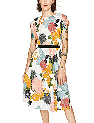 Women's Going out Casual/Daily Holiday Vintage Street chic Loose Dress,Floral Round Neck Knee-length Short Sleeve Polyester SummerHigh
