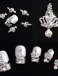 10pcs 3d couronne arc gravé en cristal rhinestone alliage nail art brille diy décoration (couronne d'argent)