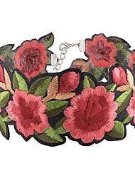 Жен. Ожерелья-бархатки В форме цветка Ткань Мода Euramerican Красный Бижутерия Для Для вечеринок 1 шт.