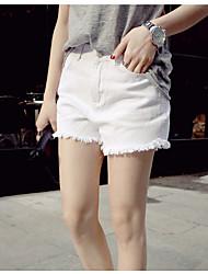 Femme simple Taille Haute strenchy Jeans Short Pantalon,Droite Couleur Pleine