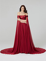 TS Couture Formal Evening Dress - Beautiful Back A-line Off-the-shoulder Court Train Chiffon with Beading Pleats