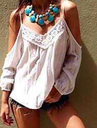 Tee-shirt Femme,Couleur Pleine Décontracté / Quotidien simple Sans Manches Epaules Dénudées Coton Fin