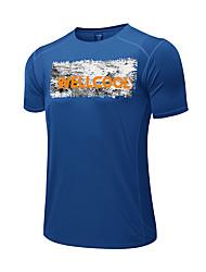 Herrn T-shirt Camping & Wandern Atmungsaktiv Rasche Trocknung Anatomisches Design Frühling Sommer Blau Orange Dunkelblau Grau