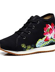 Femme-Extérieure Bureau & Travail Habillé Décontracté Sport--Talon Plat Gros Talon-Confort Nouveauté Chaussures brodées-Oxfords-Toile