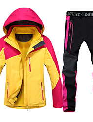 Women's 3-in-1 Jackets Suit Waterproof Breathable Thermal / Warm Windproof Fleece Lining