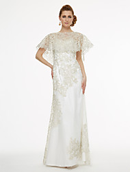 A-Line Bateau Neck Floor Length Chiffon Lace Mother of the Bride Dress with Lace Pleats by LAN TING BRIDE®