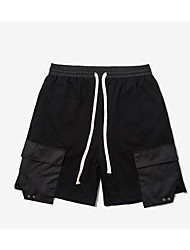 Men's Mid Rise Inelastic Shorts Pants,Street chic Loose Solid