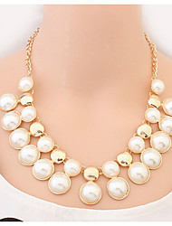 Acrylic Punk Pearl Statement Pendant Necklace Sweater Chain Pendant Necklace Vintage Women Jewelry