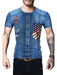 Men's Sports Going out Casual/Daily Holiday Simple Street chic Active Spring Summer T-shirt,Print Round Neck Short Sleeve Cotton Polyester