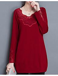 Tee-shirt Femme,Couleur Pleine Sortie simple Manches Longues Asymétrique Polyester