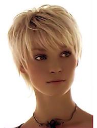 cabelos lisos confortável elegante curto cabelo humano peruca mulher elegante
