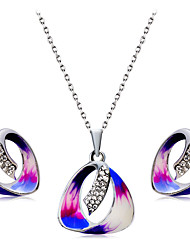 Earrings Set Necklace Pendants Euramerican Fashion Rhinestone Alloy Drop 1 Necklace 1 Pair of Earrings ForWedding Party Special Occasion