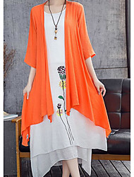 Women's Casual/Daily Loose Dress,Floral Round Neck Maxi Long Sleeve Linen Summer Mid Rise Micro-elastic Thin