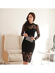 2017 new Korean Women temperament ladies stitching hollow Slim package hip dress sexy perspective