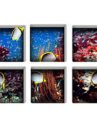 Underwater World 3D Bathroom Non-Slip Stickers The Floor Tile Individuality Decorative Stickers Light in the Dark