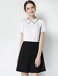 Women's Going out Cute Street chic Black and White Dress,Color Block Stand Above Knee Short Sleeve Polyester Summer Mid Rise Micro-elastic