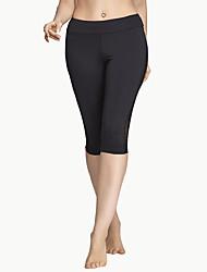 Damen 3/4 Capri-Laufhosen Atmungsaktiv Weich Komfortabel Hosen/Regenhose für Yoga Übung & Fitness Laufen Polyester Netz Eng S M L XL