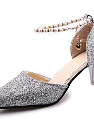 Women's Sandals Summer Comfort PU Outdoor Low Heel Silver Black Gold