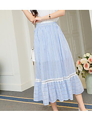 Women's High Rise Midi Skirts A Line Solid