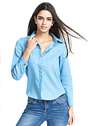 Women's Casual/Daily Sexy Shirt,Solid Shirt Collar Long Sleeve Blue Cotton