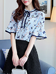 Women's Casual/Daily Simple Summer Blouse,Floral Round Neck Short Sleeve Silk Cotton Opaque