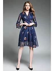 Women's Casual/Daily A Line Dress,Floral Print V Neck Above Knee ¾ Sleeve Rayon Spring Summer High Rise Micro-elastic Thin