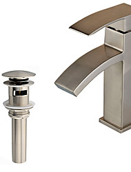 Contemporary Art Deco/Retro Modern Vessel Waterfall with  Ceramic Valve Single Handle One Hole for  Nickel Brushed , Bathroom Sink Faucet