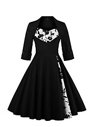 Women's Party Going out Vintage Sophisticated A Line Swing Dress,Floral Print Square Neck Knee-length Cotton Spandex All Seasons Mid Rise