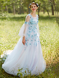 2017 Formal Evening Dress - Floral A-line Jewel Court Train Tulle with Appliques Beading Crystal Detailing Flower(s) Criss Cross