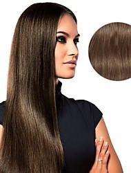 9pcs / set deluxer 120g # 6 kastanienbrauner Klipp in den Haarverlängerungen 16inch 20inch 100% gerade Menschenhaar