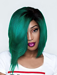 Top Quality Ombre Green Synthetic Wigs Middle Length Straight Bobo Wig For Balck Women Wig.