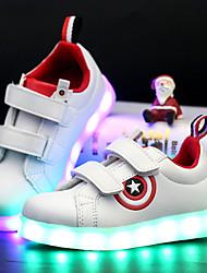 Para Meninos-Tênis-Conforto Solados com Luzes Light Up Shoes Shoe luminous-Salto Baixo-Branco Preto-Courino-Ar-Livre Casual Para Esporte