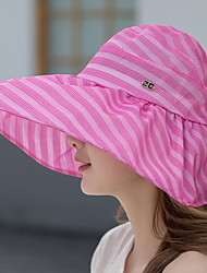 Women Foldable Summer Anti-ultraviolet Brim Shade Stripes Printed Empty Top Cloth Sunscreen Hat