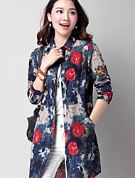 Women's Casual/Daily Simple Shirt,Floral Stand Long Sleeve Cotton