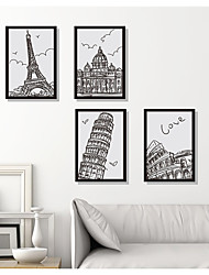Hand-Painted Building Painting Decorative Wall Stickers