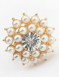 Korean Style aristocraticTemperament Rhinestone Flower Pearl Ring Movie Jewelry