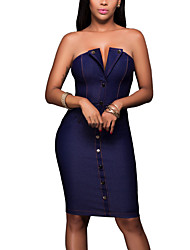 Women's Casual/Daily Club Holiday Sexy Simple Street chic Denim Over Hip Classic Bodycon DressSolid Strapless Above Knee Sleeveless High Rise