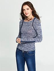 Damen Solide Einfach Street Schick Ausgehen Lässig/Alltäglich T-shirt,Mit Kapuze Alle Saisons Langarm Kunstseide Dünn