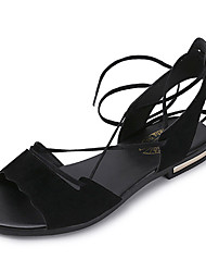 Women's Sandals Gladiator PU Spring Summer Casual Dress Gladiator Lace-up Flat Heel Black Dark Brown Flat