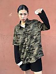 Damen camuflaje Einfach Lässig/Alltäglich T-shirt,Hemdkragen Langarm Baumwolle